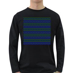 Split Diamond Blue Green Woven Fabric Long Sleeve Dark T-Shirts