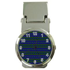 Split Diamond Blue Green Woven Fabric Money Clip Watches