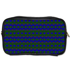 Split Diamond Blue Green Woven Fabric Toiletries Bags 2-Side