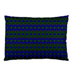 Split Diamond Blue Green Woven Fabric Pillow Case (Two Sides) Front