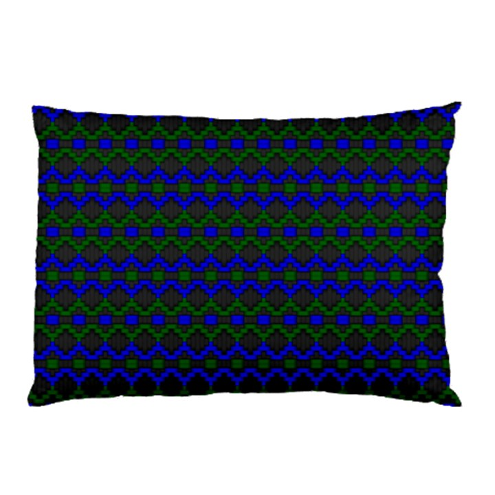 Split Diamond Blue Green Woven Fabric Pillow Case (Two Sides)