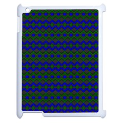 Split Diamond Blue Green Woven Fabric Apple iPad 2 Case (White)