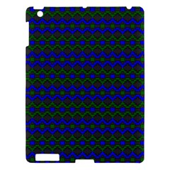 Split Diamond Blue Green Woven Fabric Apple iPad 3/4 Hardshell Case