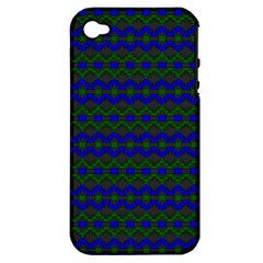 Split Diamond Blue Green Woven Fabric Apple iPhone 4/4S Hardshell Case (PC+Silicone)
