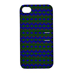 Split Diamond Blue Green Woven Fabric Apple iPhone 4/4S Hardshell Case with Stand
