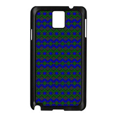 Split Diamond Blue Green Woven Fabric Samsung Galaxy Note 3 N9005 Case (Black)