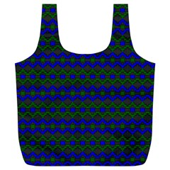 Split Diamond Blue Green Woven Fabric Full Print Recycle Bags (L)