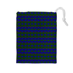 Split Diamond Blue Green Woven Fabric Drawstring Pouches (Large)