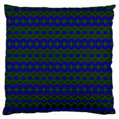 Split Diamond Blue Green Woven Fabric Large Flano Cushion Case (Two Sides)