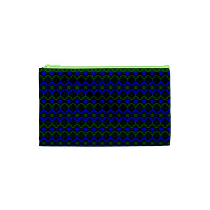 Split Diamond Blue Green Woven Fabric Cosmetic Bag (XS)