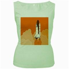Rocket Space Ship Orange Women s Green Tank Top