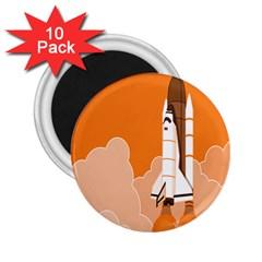 Rocket Space Ship Orange 2.25  Magnets (10 pack)