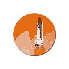 Rocket Space Ship Orange Rubber Round Coaster (4 pack)