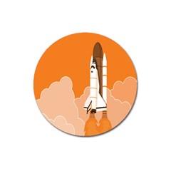 Rocket Space Ship Orange Magnet 3  (Round)