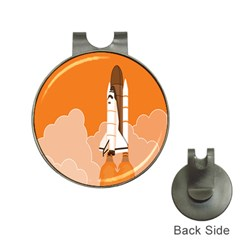 Rocket Space Ship Orange Hat Clips with Golf Markers