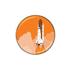 Rocket Space Ship Orange Hat Clip Ball Marker (4 pack)