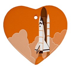 Rocket Space Ship Orange Heart Ornament (Two Sides)