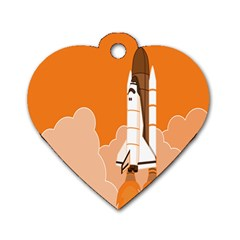 Rocket Space Ship Orange Dog Tag Heart (Two Sides)