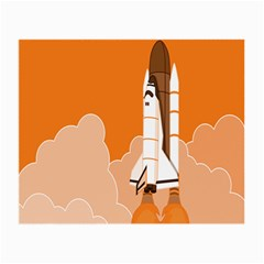 Rocket Space Ship Orange Small Glasses Cloth (2-Side)