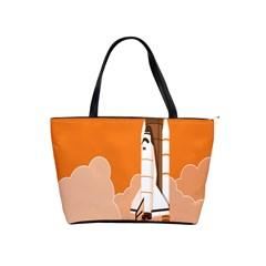 Rocket Space Ship Orange Shoulder Handbags