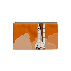 Rocket Space Ship Orange Cosmetic Bag (Small)