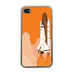 Rocket Space Ship Orange Apple iPhone 4 Case (Clear)