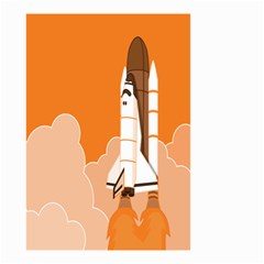 Rocket Space Ship Orange Small Garden Flag (Two Sides)