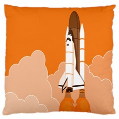 Rocket Space Ship Orange Large Cushion Case (One Side)