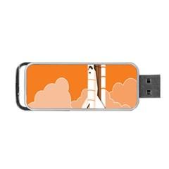Rocket Space Ship Orange Portable USB Flash (Two Sides)