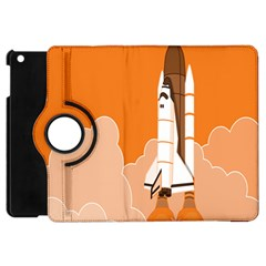 Rocket Space Ship Orange Apple iPad Mini Flip 360 Case