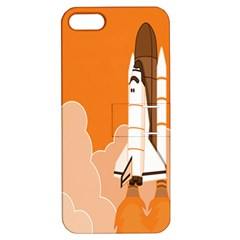 Rocket Space Ship Orange Apple iPhone 5 Hardshell Case with Stand