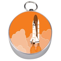 Rocket Space Ship Orange Silver Compasses