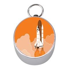 Rocket Space Ship Orange Mini Silver Compasses