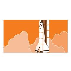 Rocket Space Ship Orange Satin Shawl