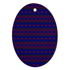 Split Diamond Blue Purple Woven Fabric Ornament (Oval)