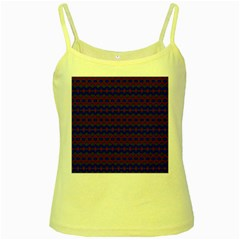 Split Diamond Blue Purple Woven Fabric Yellow Spaghetti Tank