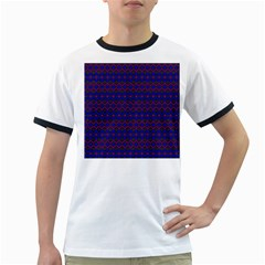 Split Diamond Blue Purple Woven Fabric Ringer T-Shirts