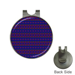 Split Diamond Blue Purple Woven Fabric Hat Clips with Golf Markers