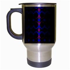 Split Diamond Blue Purple Woven Fabric Travel Mug (Silver Gray)