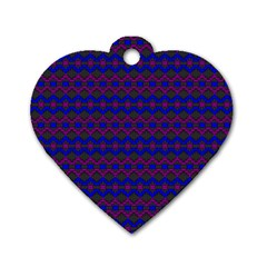 Split Diamond Blue Purple Woven Fabric Dog Tag Heart (One Side)
