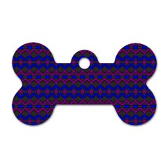 Split Diamond Blue Purple Woven Fabric Dog Tag Bone (Two Sides)