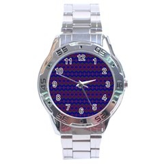 Split Diamond Blue Purple Woven Fabric Stainless Steel Analogue Watch