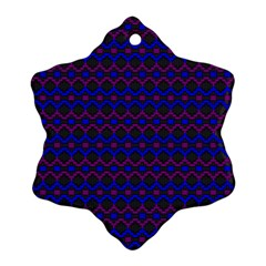 Split Diamond Blue Purple Woven Fabric Snowflake Ornament (Two Sides)