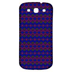 Split Diamond Blue Purple Woven Fabric Samsung Galaxy S3 S III Classic Hardshell Back Case