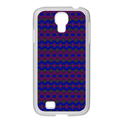 Split Diamond Blue Purple Woven Fabric Samsung GALAXY S4 I9500/ I9505 Case (White)