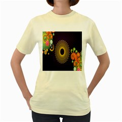 Polka Dot Circle Leaf Flower Floral Yellow Purple Red Star Women s Yellow T-Shirt