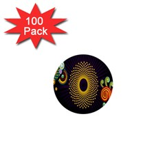 Polka Dot Circle Leaf Flower Floral Yellow Purple Red Star 1  Mini Buttons (100 pack)