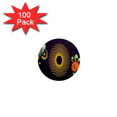 Polka Dot Circle Leaf Flower Floral Yellow Purple Red Star 1  Mini Magnets (100 pack)