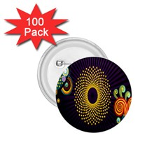 Polka Dot Circle Leaf Flower Floral Yellow Purple Red Star 1.75  Buttons (100 pack)