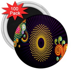 Polka Dot Circle Leaf Flower Floral Yellow Purple Red Star 3  Magnets (100 pack)